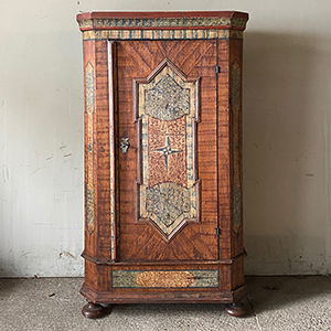 18th cent Original Painted Pine Marriage Cupboard