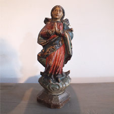 18th cent Polychrome Carved Saint