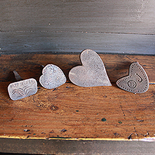 4 x Folk Art Decorated Funerary Hearts