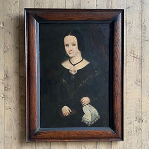 American Primitive Portrait of a Lady in Black