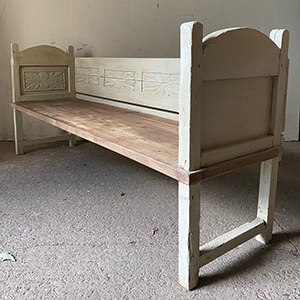 Antique Bench with Carved Panels