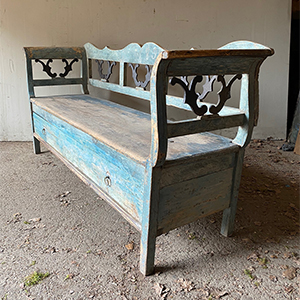 Antique Bench with Drawer in Original Paint