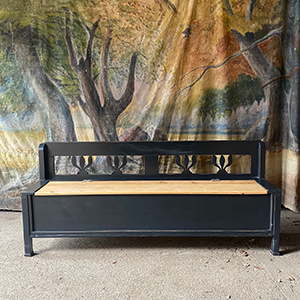 Antique Black Painted Box Bench