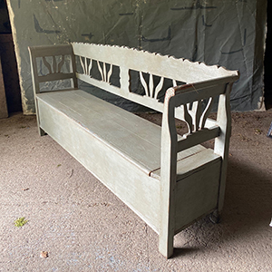 Antique Box Bench in Grey