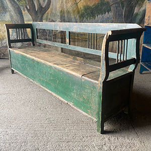 Antique Box Bench in Original Green Paint