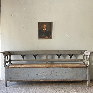 Antique Box Bench in Original Grey Paint