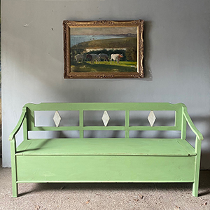 Antique Box Bench in Pale Green amp Grey