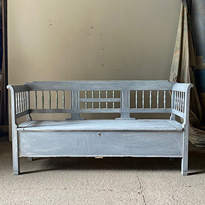 Antique Box Bench with Spindles in Original Grey Paint