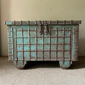 Antique Chest with Decorative Metalwork in Original Blue Paint