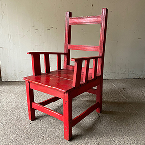Antique Country Armchair in Vibrant Original Red Paint