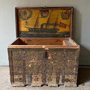 Antique Dowry Box with Metalwork amp Naive Ship Painting
