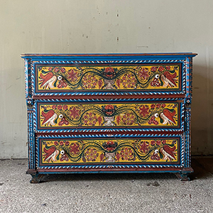 Antique Folk Painted Hungarian Marriage Chest
