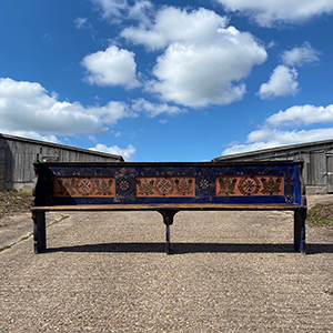 Antique Folk Painted Marriage Bench