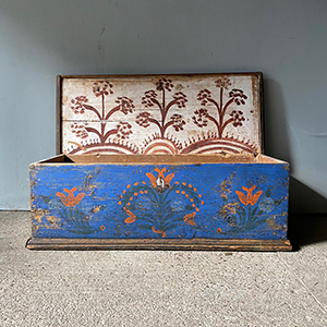 Antique Folk Painted Marriage Box in Blue amp Red