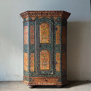 Antique Folk Painted Marriage Cupboard