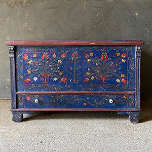 Antique Folk Painted Pine Marriage Box