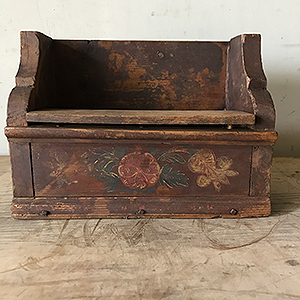 Antique Folk Painted Salt Box