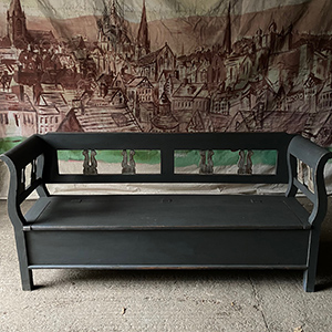 Antique Grey Box Bench with Fretwork