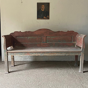Antique Hungarian Bench in Original Paint