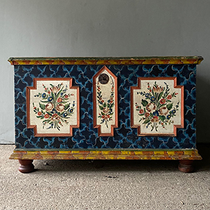 Antique Marriage Box with Flowers on Blue