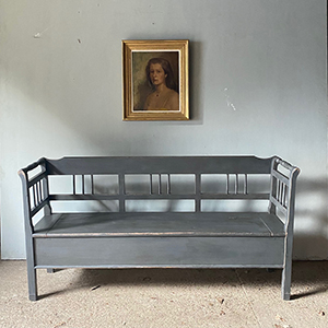 Antique Modernist Box Bench in Dove Grey