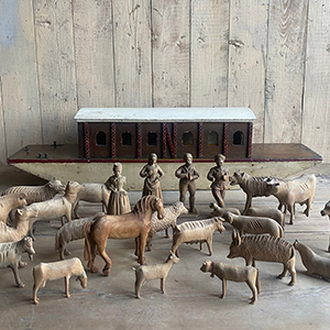 Antique Noahs Ark with Carved Wooden Figures