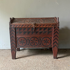Antique Painted amp Carved Shepherds Dowry in Oak
