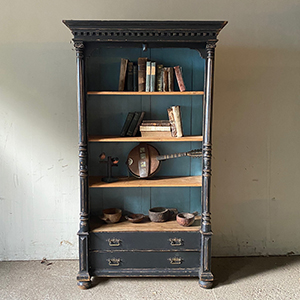 Antique Painted Pine Bookcase with Classical Decoration