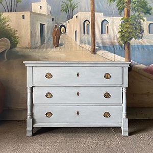 Antique Painted Pine Commode with Neo-Classical Decoration