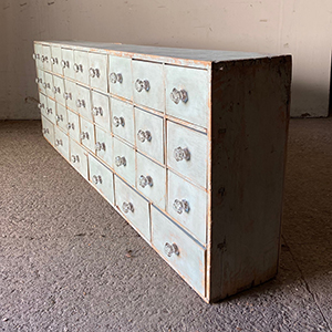 Antique Painted Pine Flight of Seed Merchants Drawers