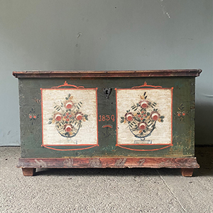 Antique Painted Pine Marriage Box with Grecian Urns