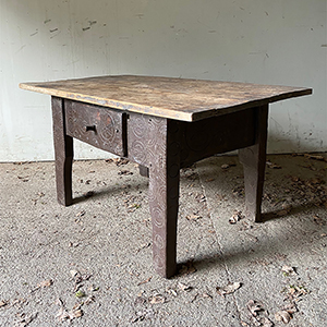 Antique Peasant Table with Compass Circles