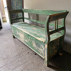 Antique Pine and Hardwood Box Settle in Original Green