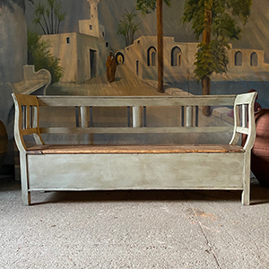 Antique Pine Bench in Old White