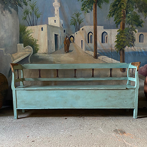 Antique Pine Bench in Teal Blue with Brown