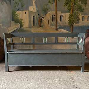 Antique Pine Box Bench in Mid-Grey with GreenWhite