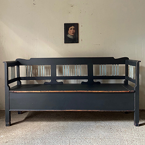 Antique Pine Box Bench in Warm Black with Blue Spindles
