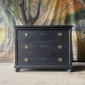 Antique Pine Chest in Charcoal Black