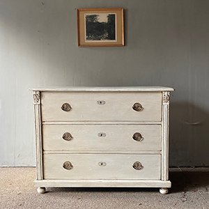 Antique Pine Chest in Old White