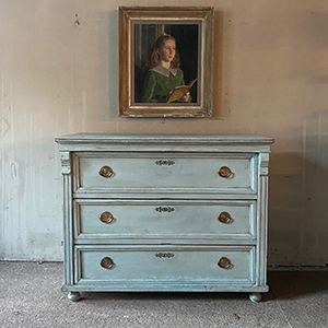 Antique Pine Chest in Swedish Blue