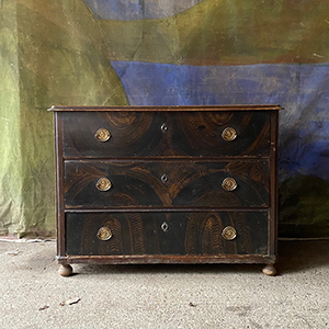 Antique Pine Chest with Original Grain Painting