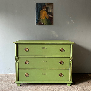 Antique Pine Commode in Drawing Room Green