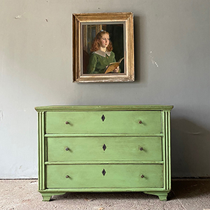 Antique Pine Commode in Georgian Green