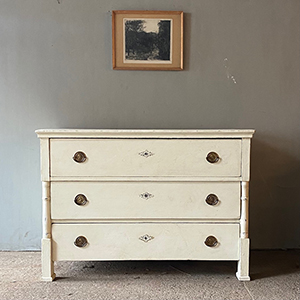 Antique Pine Commode in Old White