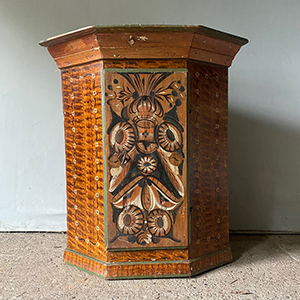 Antique Pine Corner Cabinet with Folk Painting