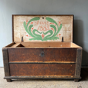 Antique Pine Dowry with Original Grain Paint amp Date