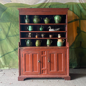 Antique Pine Dresser with Panelled Front amp Rope Twist Moulding in Original Paint