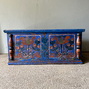 Antique Pine Folk Painted Marriage Box in Red amp Blue
