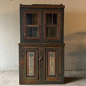 Antique Pine Glazed Cupboard with Folk Painting