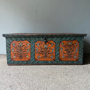 Antique Pine Marriage Box with Flowers on Blue Ground